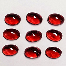 6x4 mm 9 pcs Oval Cabochon  Red Mozambique Garnet Natural {Flawless-VVS}