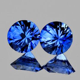3.20 mm 2 pcs Round Machine Cut AAA Ceylon Blue Sapphire Natural {Flawless-VVS}--AAA Grade