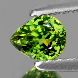 0.81 cts Pear 6.5x5 mm AAA Fire Premium Green Demantoid Natural {Flawless-VVS}