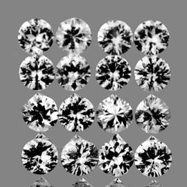 2.50 mm 16 pcs {1.19 cts} Round Brilliant Machine Cut White Spinel Mogok Natural {Flawless-VVS1}