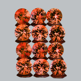 2.50 mm 12 pcs Round Machine Cut Intense Orange Spinel Mogok Natural {Flawless-VVS1}
