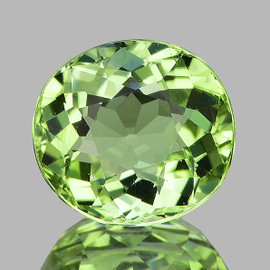 8x7 mm {2.10 cts} Oval AAA Fire Canary Green Tourmaline Natural Mozambique {Flawless-VVS}