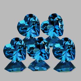 6.00 mm 5 pcs Heart AAA Fire Top London Blue Topaz Natural {Flawless-VVS1}