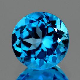 7.50 mm {2.10 cts} Round Best Sparkling Intense Swiss Blue Topaz Natural {Flawless-VVS1}