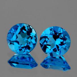 6.50 mm 2 pcs Round Best Sparkling AAA Swiss Blue Topaz Natural {Flawless-VVS1}