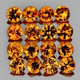 1.60 mm 35 pcs Round Brilliant Machine Cut AAA Golden Yellow Sapphire Natural {Flawless-VVS1}