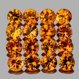 2.20 mm 16 pcs Round Brilliant Machine Cut Intense Golden Yellow Sapphire Natural {Flawless-VVS1}