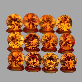 2.50 mm 12 pcs Round Diamond Cut AAA Fire Intense Orange Yellow Sapphire Natural {Flawless-VVS1}