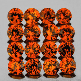 2.00 mm 20 pcs Round Brilliant Machine Cut AAA Fire Intense Orange Sapphire Natural {Flawless-VVS1}