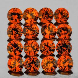 2.20 mm 16 pcs Round Brilliant Machine Cut AAA Fire Intense Orange Sapphire Natural {Flawless-VVS1}