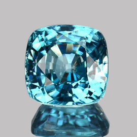 6.00 mm { 1.98 cts} Cushion Best AAA Fire Electric Blue Zircon Natural {Flawless-VVS1}