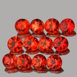 2.50 mm 12 pcs Round Brilliant Cut AAA Fire Intense Red Orange Sapphire Natural {Flawless-VVS}