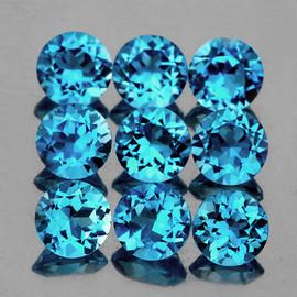 5.20 mm 9 pcs Round Best Sparkling Swiss Blue Topaz Natural {Flawless-VVS1}