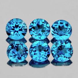 5.50 mm 6 pcs Round Best Sparkling Swiss Blue Topaz Natural {Flawless-VVS1}