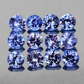 2.70 mm 12 pcs Round Brilliant Machine Cut Extreme Brilliancy Ceylon Blue Sapphire Natural {Flawless-VVS}