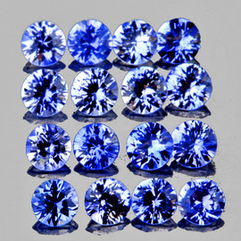 2.30 mm 16 pcs Round Brilliant Machine Cut Extreme Brilliancy Ceylon Blue Sapphire Natural {Flawless-VVS}