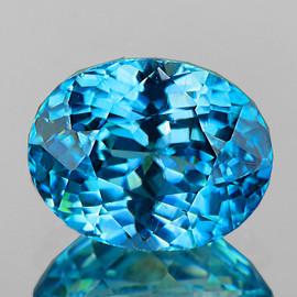 8.5x6.5 mm {2.98 cts} Oval Best AAA Fire Intense Blue Zircon Natural {VVS}--AAA Grade