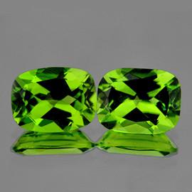 9x7 mm 2 pcs {4.10 cts} Cushion AAA Fire AAA Green Peridot Natural {Flawless-VVS}