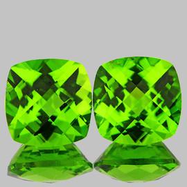 8.00 mm 2pcs Cushion Checker AAA Fire AAA Green Peridot Natural {Flawless-VVS}
