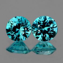 5.20 mm 2 pcs {1.35 cts} Round Diamond Cut AAA Fire Intense Blue Zircon {Flawless-VVS1)