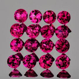2.25 mm 40 pcs Round Brilliant Machine Cut Natural AAA Raspberry Pink Rhodolite Garnet {Flawless-VVS}