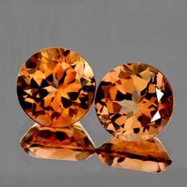 8.00 mm 2 pcs Round AAA Champagne Imperial Topaz Natural {Flawless-VVS1}