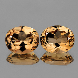 10x8 mm 2 pcs Oval Champagne Imperial Topaz Natural {Flawless-VVS1 }