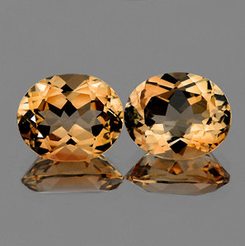11x9 mm 2 pcs Oval Champagne Imperial Topaz Natural {Flawless-VVS1}