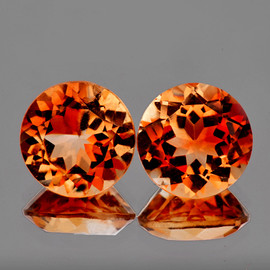 7.00 mm 2 pcs Round AAA Champagne Imperial Topaz Natural {Flawless-VVS1}