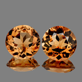 7.00 mm 2 pcs Round Champagne Imperial Topaz Natural {Flawless-VVS1}