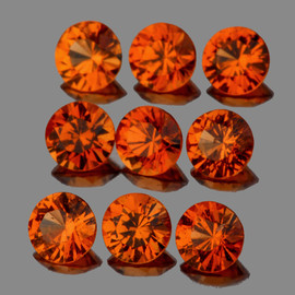 2.80 mm 9 pcs Round Diamond Cut AAA Mandarin Orange Spessartite Garnet Natural  {Flawless-VVS1}