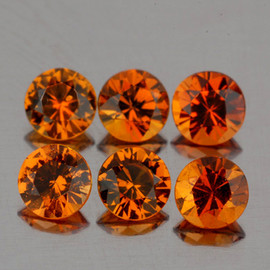 3.20 mm 6 pcs Round Diamond Cut AAA Mandarin Orange Spessartite Garnet Natural {Flawless-VVS1}