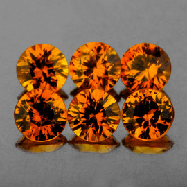 3.30 mm 6 pcs Round Diamond Cut AAA Mandarin Orange Spessartite Garnet Natural {Flawless-VVS1}