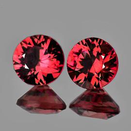5.20 mm 2pcs Round Diamond Cut Best AAA Fire Pinkish Orange Rhodolite Garnet Natural {Flawless-VVS}