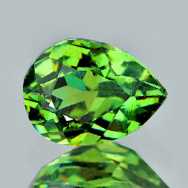 0.56 cts Pear Brilliant Cut 5.5x4 mm Best AAA Fire Premium Green Demantoid Natural  {Flawless-VVS1}