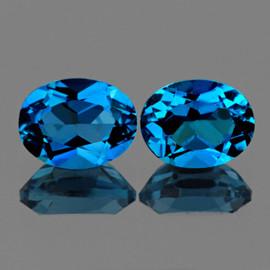 7x5 mm 2 pcs Oval Best AAA London Blue Topaz Natural {Flawless-VVS1}
