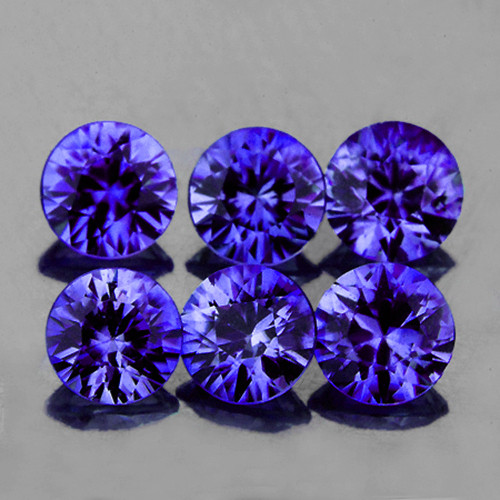 3.00 mm 6 pcs Round Natural AAA Premium Violet Blue Sapphire (Unheated) {Flawless-VVS)--AAA Grade