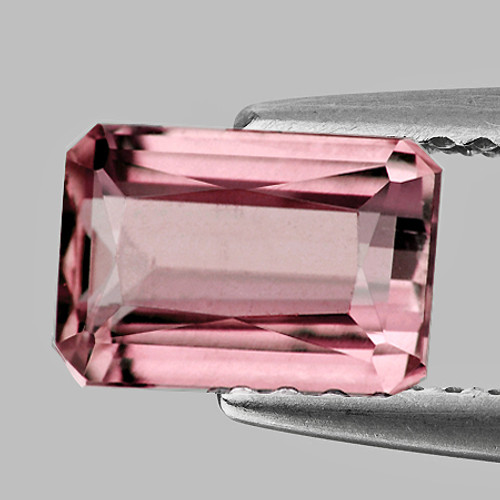 9x6 mm {1.96 cts} Rectangle Best AAA Luster Peach Pink Tourmaline Natural (Flawless-VVS)--AAA Grade