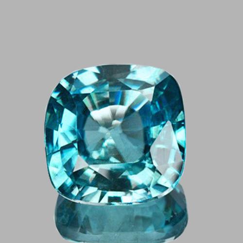 6.00 mm { 1.68 cts} Cushion AAA Fire Greenish Blue Zircon Natural {Flawless-VVS1}