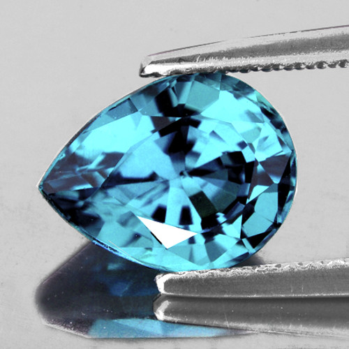 8x6.5 mm {2.14 cts} Pear Best AAA Fire Top Electric Blue Zircon Natural {VVS}