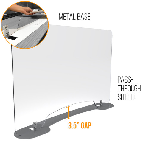 Sneeze Guards | Personal Protection Shield with Sheet Metal Base and Pass Through Window