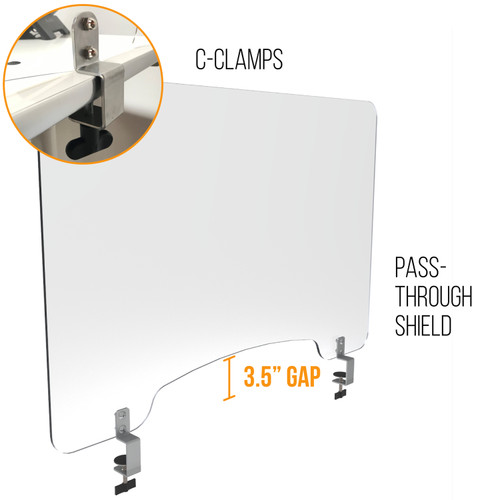 Sneeze Guard   Personal Protection Shield with C-Clamp and Pass-Through Window