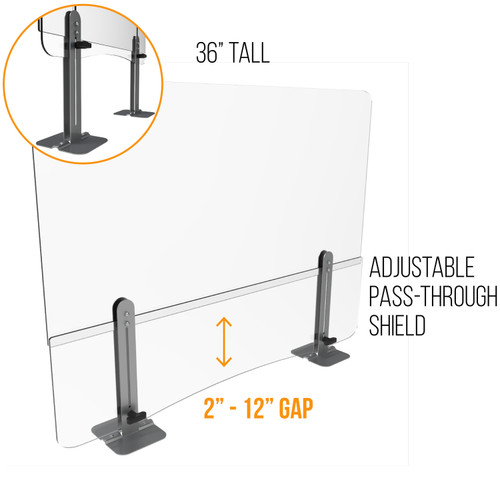 """Sneeze Guards   36"""" Tall    With Adjustable Pass Through"""