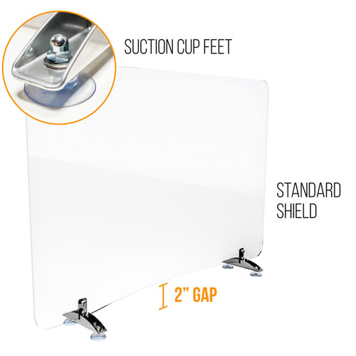 Sneeze Guard   Personal Protection Shield with Suction Cup Feet