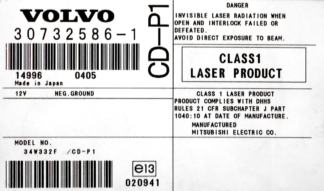 VOLVO S40 V50 AM/FM Radio CD Player CD-P1 Audio 2004 2005 2006 2007