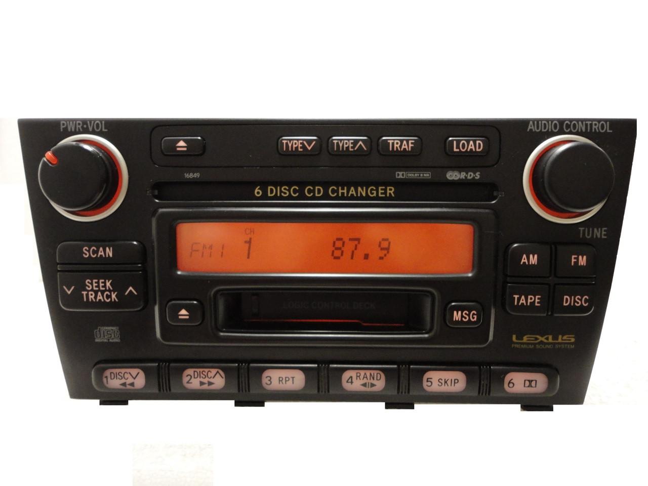 Lexus IS300 Radio 6 Disc Changer cd tape cassette player 16849 LEXUS  Premium Sound