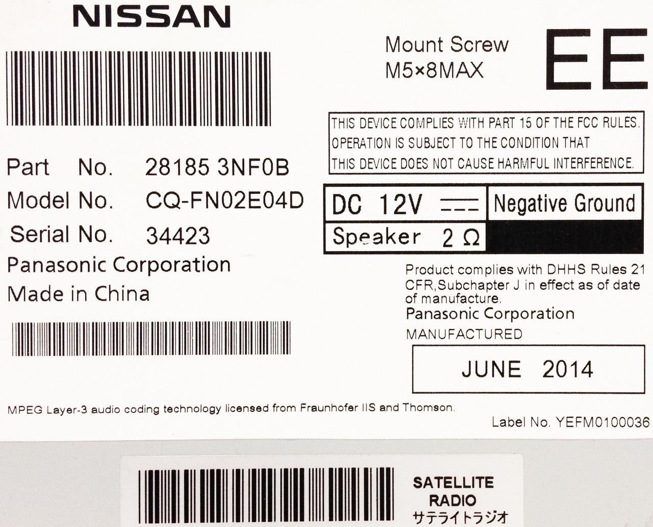 2013 2014 Nissan LEAF OEM Radio Stereo XM Bluetooth 4 3