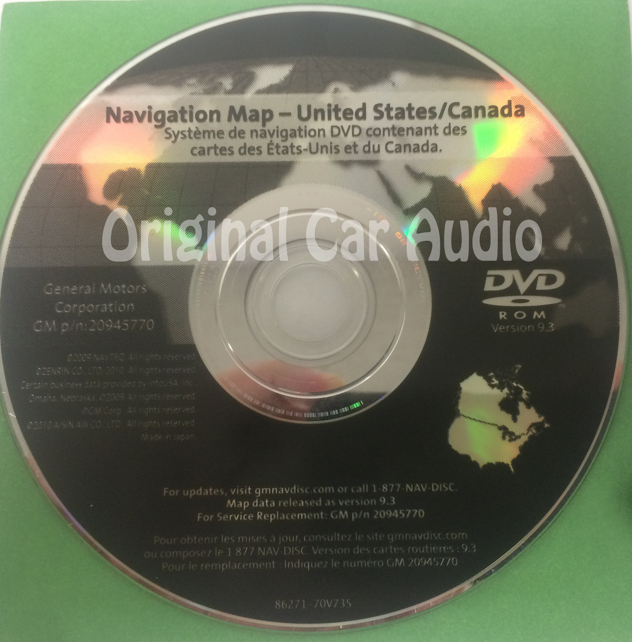 GM Satellite Navigation System CD 20945770 Version 9.3 - CD4Car