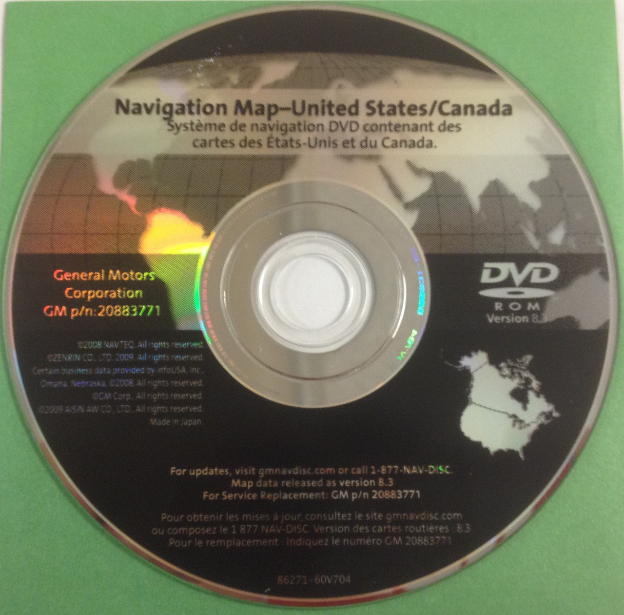 GM Satellite Navigation System CD 20883771 Version 8.3 - CD4Car