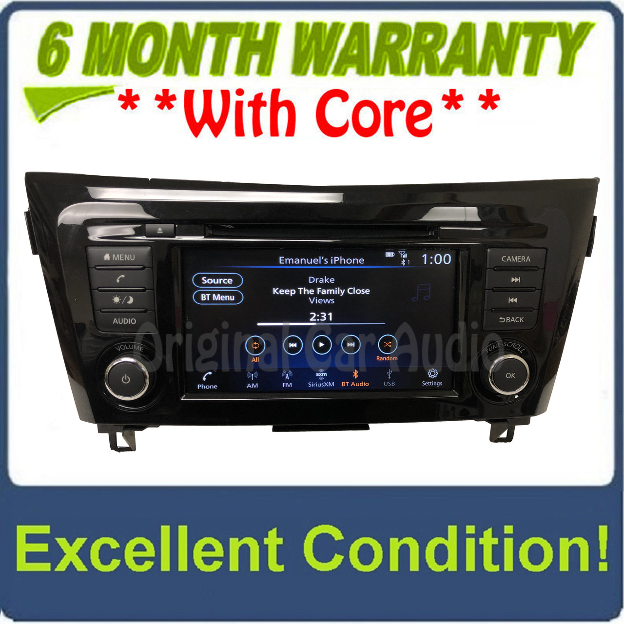 2017 - 2019 Nissan Rogue OEM Car Play Android Auto Single CD AM FM SAT  Radio Multi Media Receiver